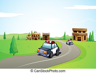Two cars on the road and a saloon shop