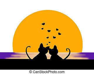 romantic sunset - colored illustration of two cats that...