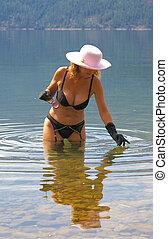 Watery Scenes 4 - Female fashion model wearing lingerie...