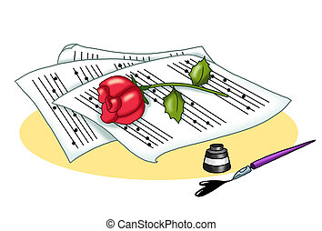 songs of love - colored illustration of musical sheets with...