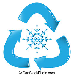 Recycle Snowflake - A glossy recycling symbol with a snow...