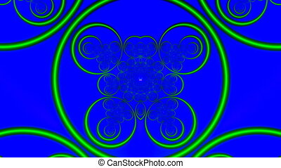 Green graceful rings slowly rotate and change on a blue...