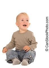 emotional boy - closeup portrait of emotional boy on a white...