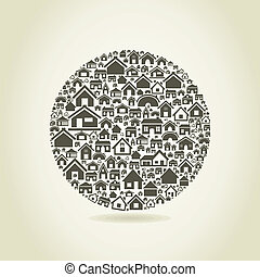 House a sphere - Sphere made of houses A vector illustration...