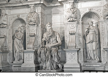 Moses by Michelangelo in San Pietro in Vincoli, Rome,Italy -...