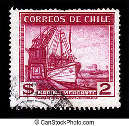 port crane and merchant ship - CHILE - CIRCA 1936: A stamp...