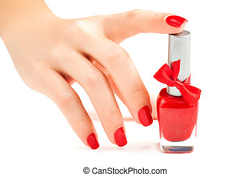 Hands with red manicure isolated