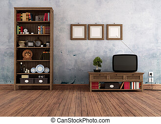 Vintage living room - Vintage interior with wooden bookcase...