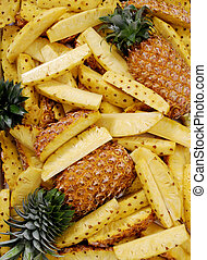 Pineapple with slices - Group of pineapple as background