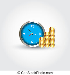 Clock and money - This image is a vector illustration and...