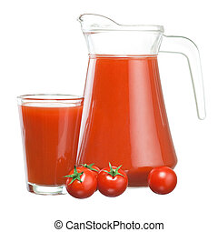 Jug of tomato juice, glass and fruits Cherry tomatoes with green leaves isolated on white background