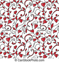 Background with hearts ornament. Floral pattern with hearts.