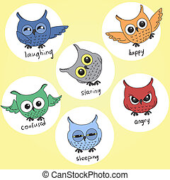 Cartoon owls in different moods - A set of cartoon owls in...