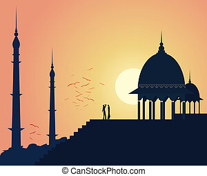 india sunset - an illustration of beautiful asian...