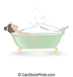 Woman taking a bath with foam, isolated on white background.