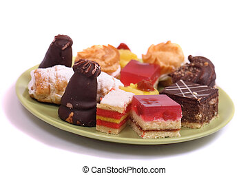 sweet deserts - many sweet deserts on the white background
