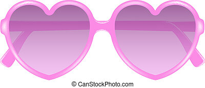 Sun glasses in shape of heart in pink design on white...