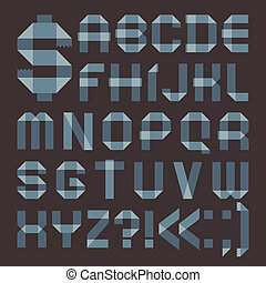Font from bluish scotch tape - Roman alphabet