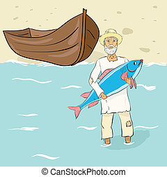 The old fisherman with fish ashore. Vector illustration