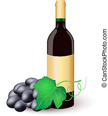 Wine bottle with black grapes.