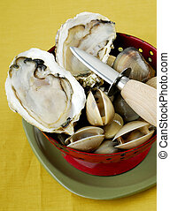 Fresh oyster with a oyster knife - Opened fresh oyster on...