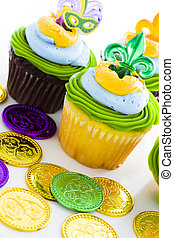 Cupcakes - Fancy cupcakes decorated with leaf and mask for...