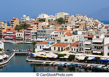 Agios Nikolaos - town and Voulismeni lake Crete, Greece