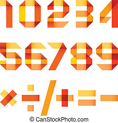 Spectral letters folded of paper orange ribbon - Arabic numerals (0, 1, 2, 3, 4, 5, 6, 7, 8, 9).