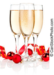 Three Glass of Champagne, Red ribbon and Christmas Balls...