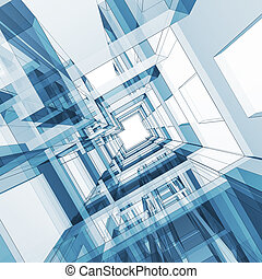 Abstract architecture 3d render image