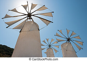 Windmills. Crete - Tradition windmills in Lasithi. Crete,...