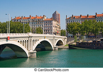 Lyon - Bridge Wilson above Rhone. Lyon, France.