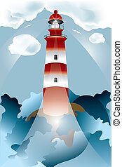 Lighthouse lights on over the unsteady sea under the cloudy...