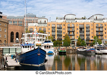 St Katharine dock London, England - St Katharine dock in...