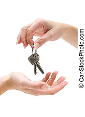 Handing Over Keys - Receiving a bunch of keys Isolated on a...