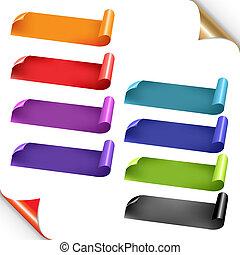Web Colorful Ribbons Set With Gradient Mesh, Isolated On...
