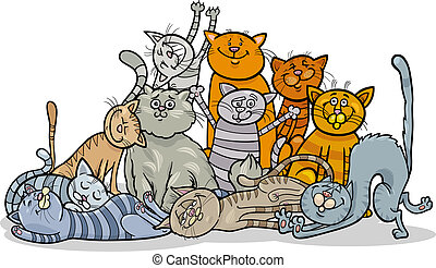 happy cats group cartoon illustration - Cartoon Illustration...