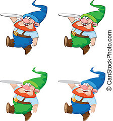 walking gnome with tray - illustration of a walking gnome...