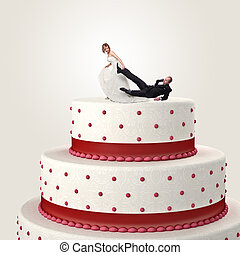 funny cake topper - gromm try to escape from wedding cake...