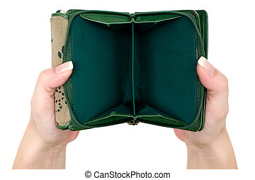 Empty Purse - Woman presenting her empty wallet. Isolated on...