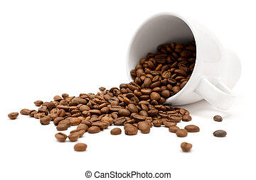 Scattered Coffee Beans - White cup and coffee beans. Shallow...