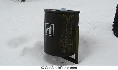 full dustbin waste snow