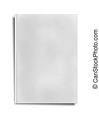 close up of a blank white book on white background with...