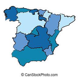 mapa, administración, españa