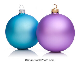 Christmas Purple and Blue Baubles Isolated on white...