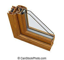 UPVC wood effect Double glazing cross section - A cross...