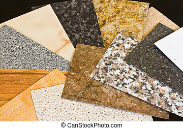 Kitchen worktop sample swatches - Kitchen worktop samples...