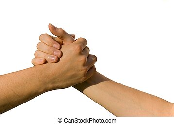 handshake - a handshake between two young people, on white