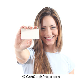 Beautiful woman showing  a blank card