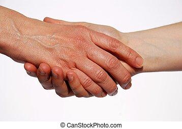 secousse, deux, mains